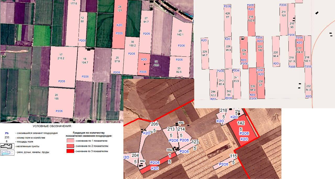 Карта-схема расположения полей с существенным снижением плодородия по одному или нескольким показателям