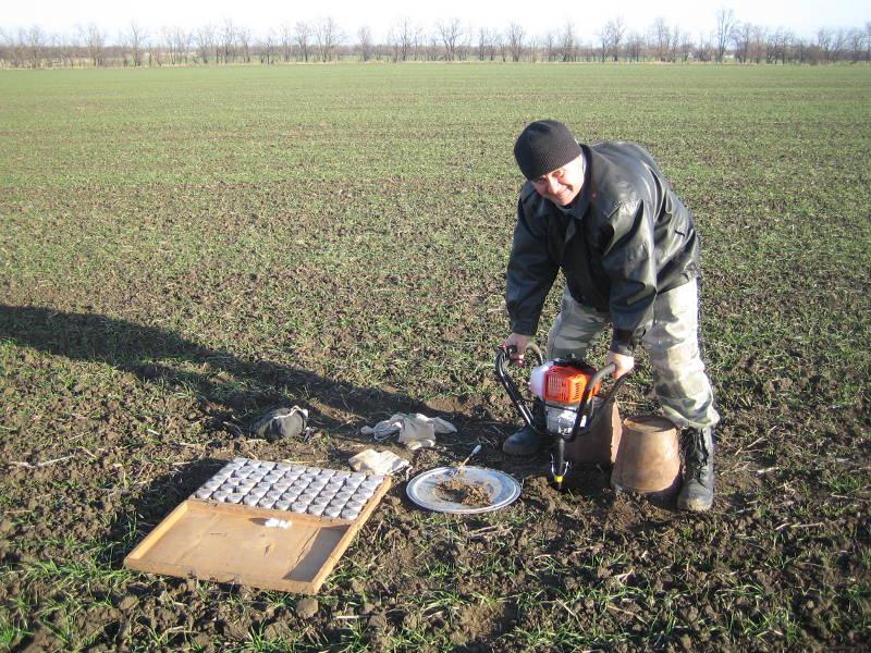 Главный агрохимик отдела ПУиО Давыдов В.Е. проводит ранневесеннюю диагностику посевов фермерского хозяйства Минераловодского района Цепа В.В.