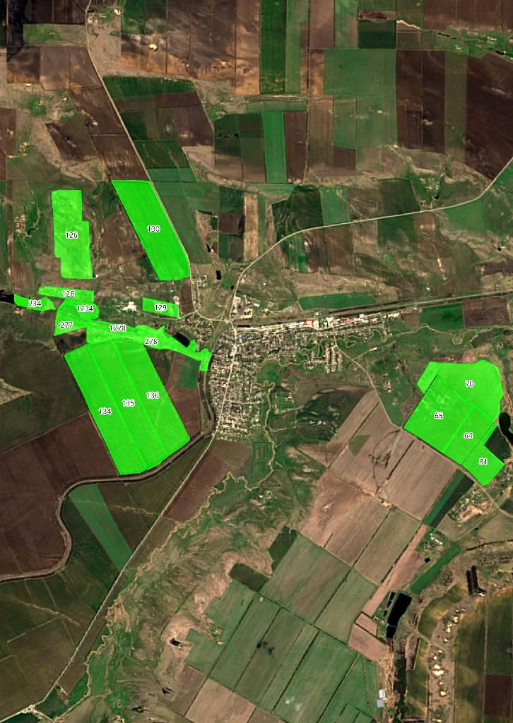 Космоснимок с границами рабочих участков