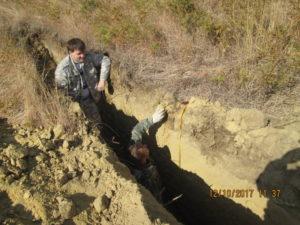 Почвенный разрез на черноземах обыкновенных маломощных на элювии песчанников