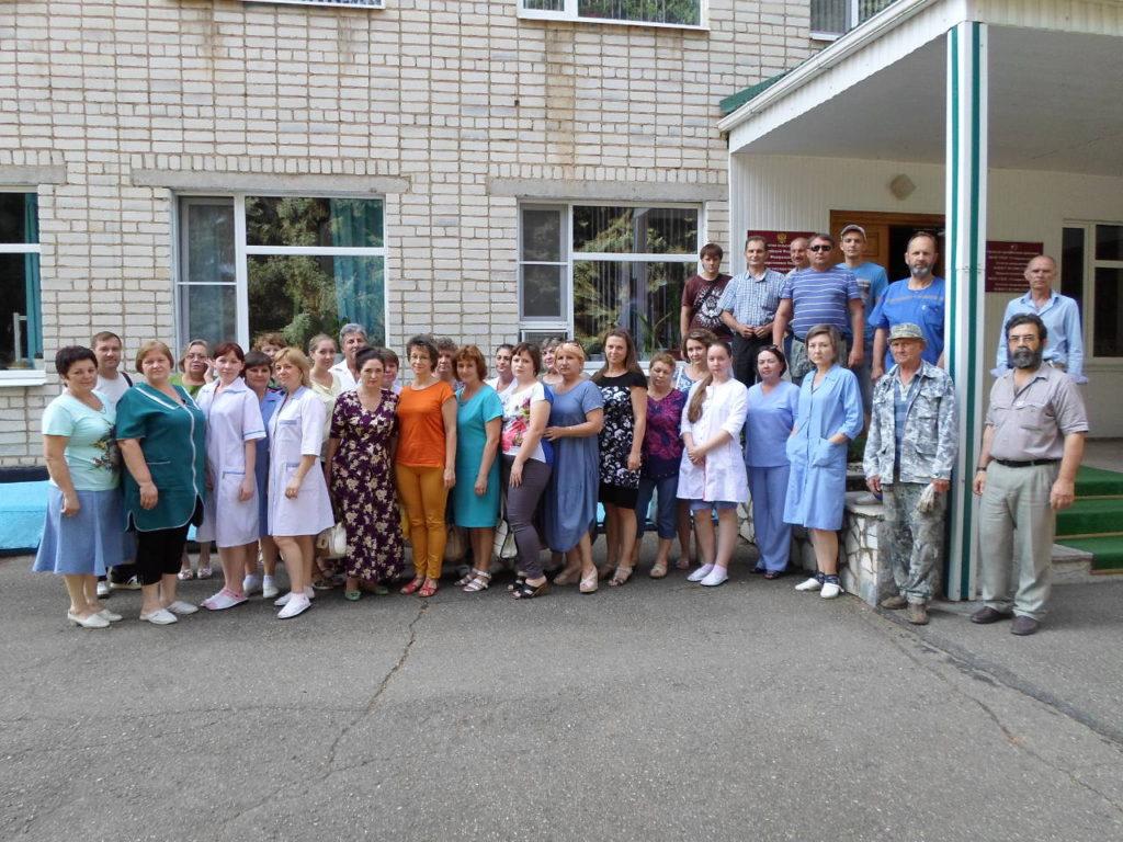 Сотрудники агрохимцентра принимавшие участие в учениях по эвакуации и тушению условного пожара