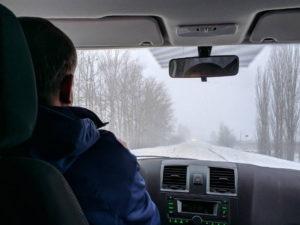 Заснеженная дорога по пути Ставрополь - Белгород, Воронежская область