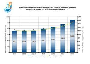 Внесение минеральных удобрений под озимую пшеницу урожаев соответствующих лет в Ставропольском крае